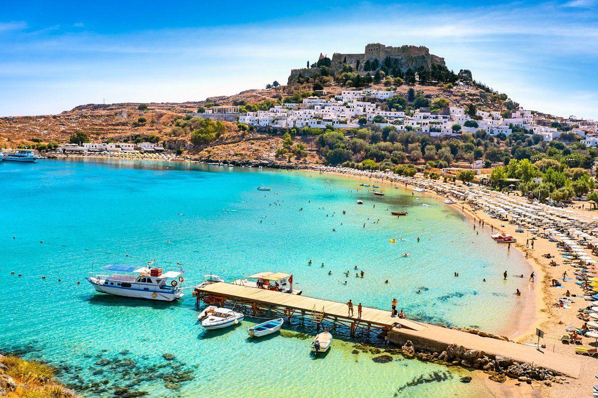 Rhodes, Greece, Lindos beach and Acropolis ! | Lindos beach ...