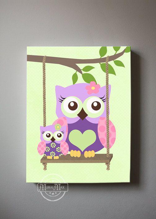 Lovely Whimsical Owls Canvas Art Nursery Decor   Girls Wall Art   OWL Canvas Art,  Baby Nursery Art   Purple And Aqua Nursery