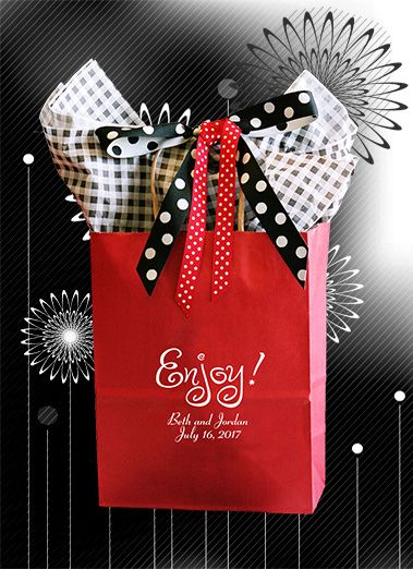 Start the party at the hotel front desk with these wedding welcome bags -The berry red gift bag is imprinted in white ink and makes a bold statement.Holds over 5 pounds of best local goodies. Our family business has been selling on-line since 2003. #weddingwelcomebag #weddingguestgiftbag