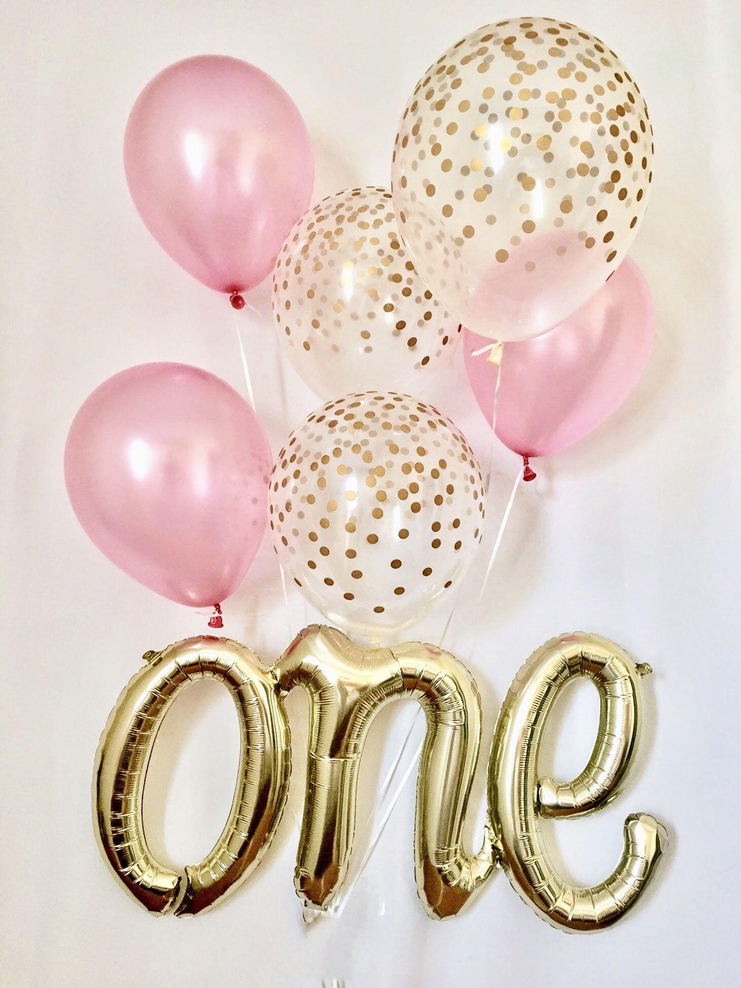 One Script Balloonone Balloonpink Gold First Birthday Balloon