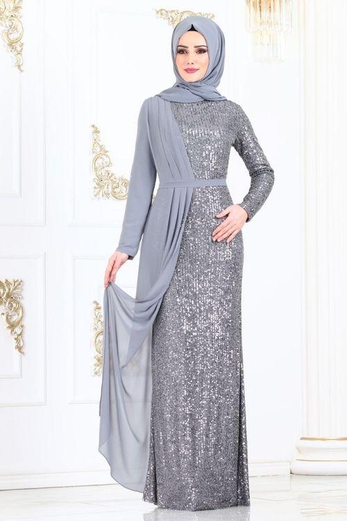 Modaselvim Abiye Sifon Detay Pul Payet Abiye 2155ms212 Gumus Model Pakaian Muslim Model Pakaian Hijab Pakaian Wanita Bunga