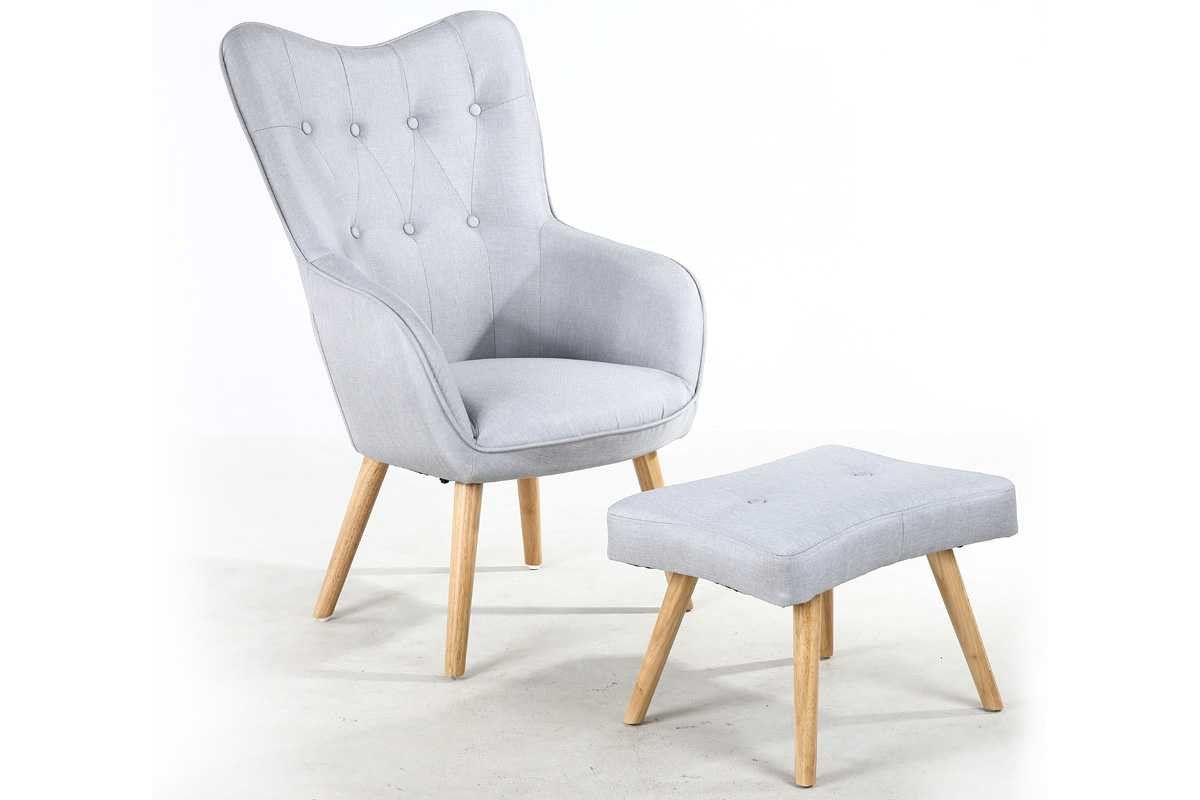 Alton Modern Light Grey Silver Fabric Occasional Accent Chair