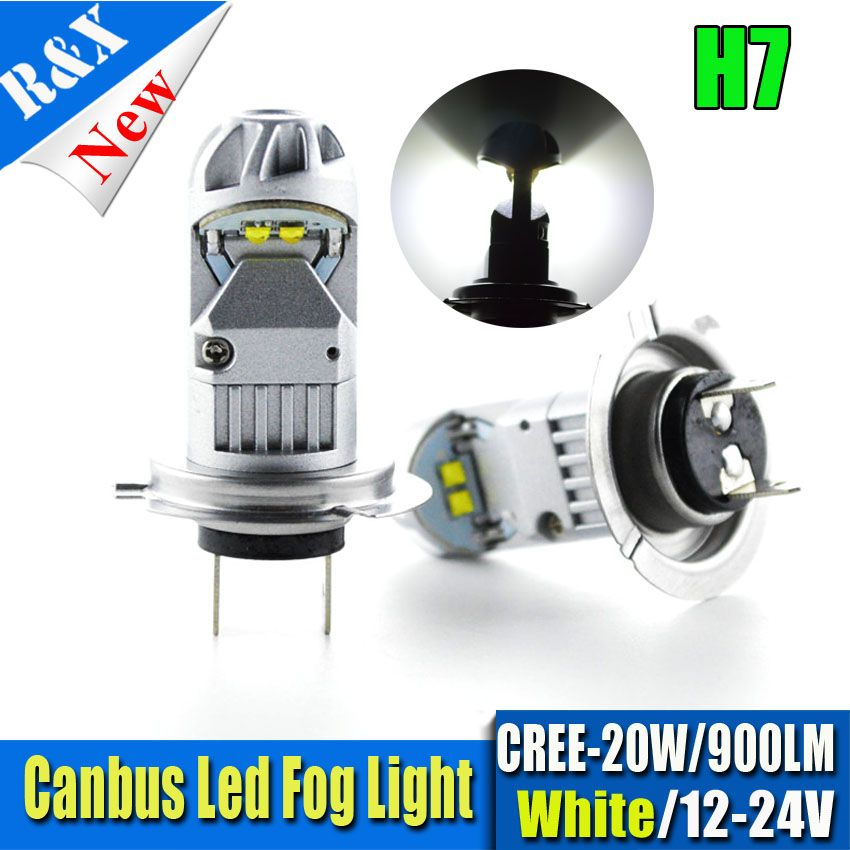 Pair 20w H7 4smd Canbus Error Free Led Bulb Car Fog Light Ac 12v 24v 320 Degree White Fog Lamp Bulb 900lm Lamp Bulb Car Lights Led Bulb