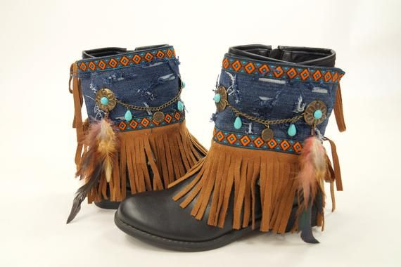 Native American denim fringe boot covers-Boho boot covers -Super Distressed-Gypsy boot cuffs-Hippie boot cuffs-Boot socks-Ethnic boot cuffs #bootcuffs