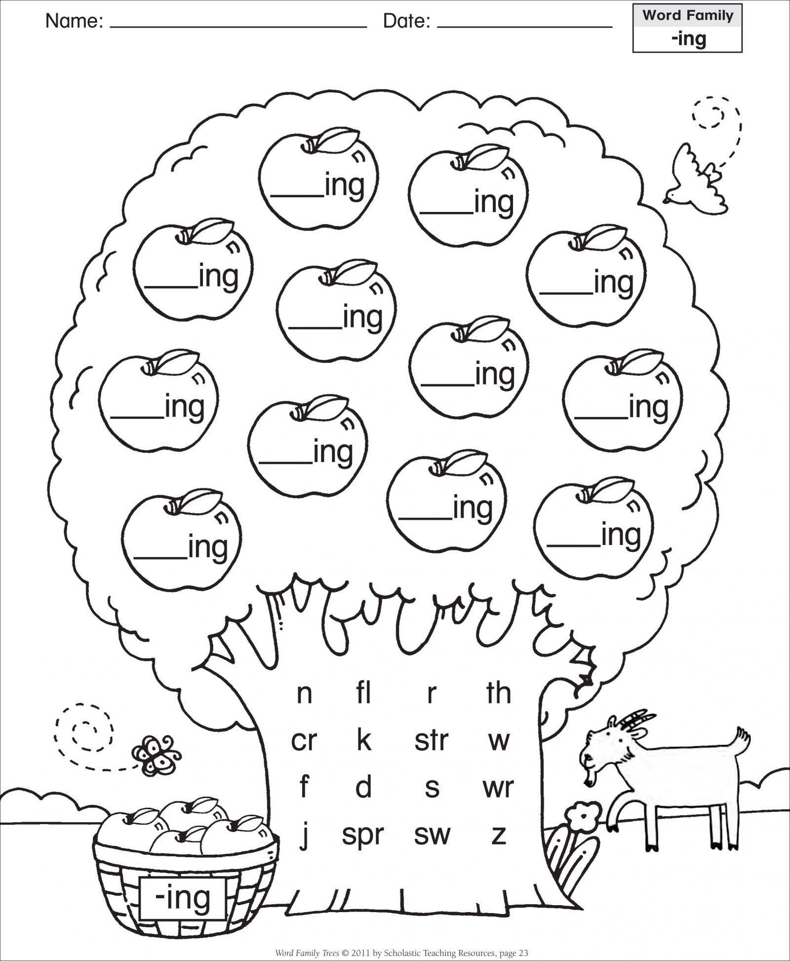 Word Families Worksheets For Preschoolers Save