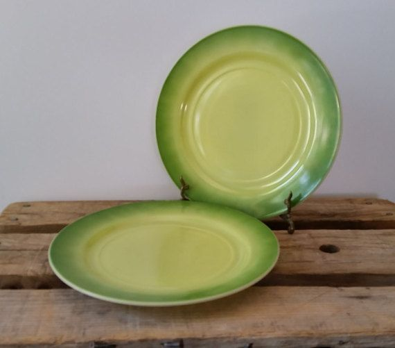 Hazel Atlas Plates Green OMBRE Set of 2 Vintage 9 inch Milk Glass Dinner Plates Ombre Green Milk Glass | Green milk glass Milk glass and Vintage dinnerware & Hazel Atlas Plates Green OMBRE Set of 2 Vintage 9 inch Milk Glass ...