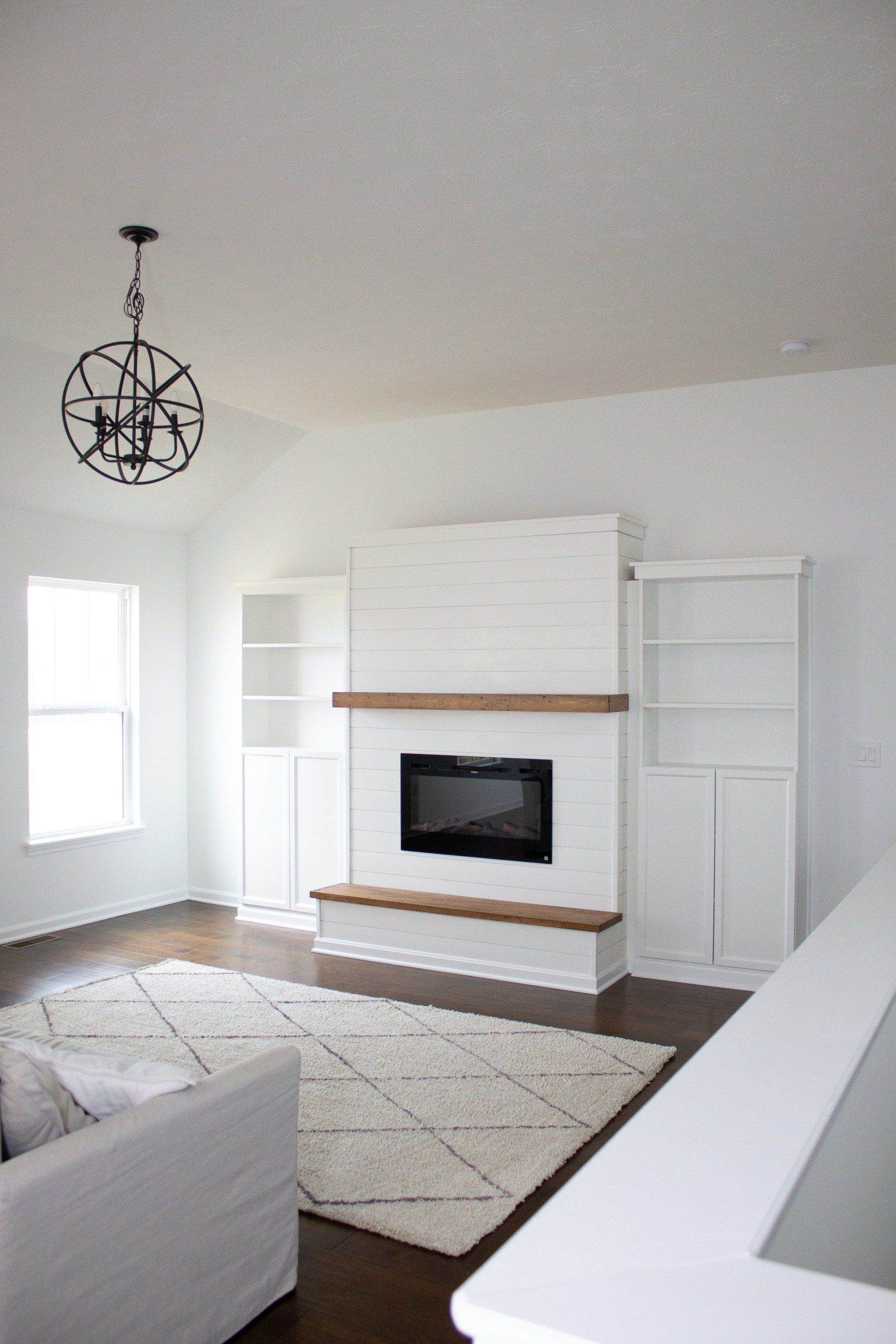 Diy Electric Fireplace With Built In Bookshelves Diy Electric Fireplace With Built In Bookshelves In 2020 Fireplace Built Ins Living Room Built Ins Diy Fireplace