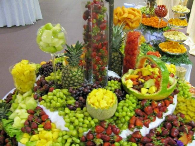 Waterfall Fruit And Veggie Displays: Assorted Fresh Fruits Display & Carvings