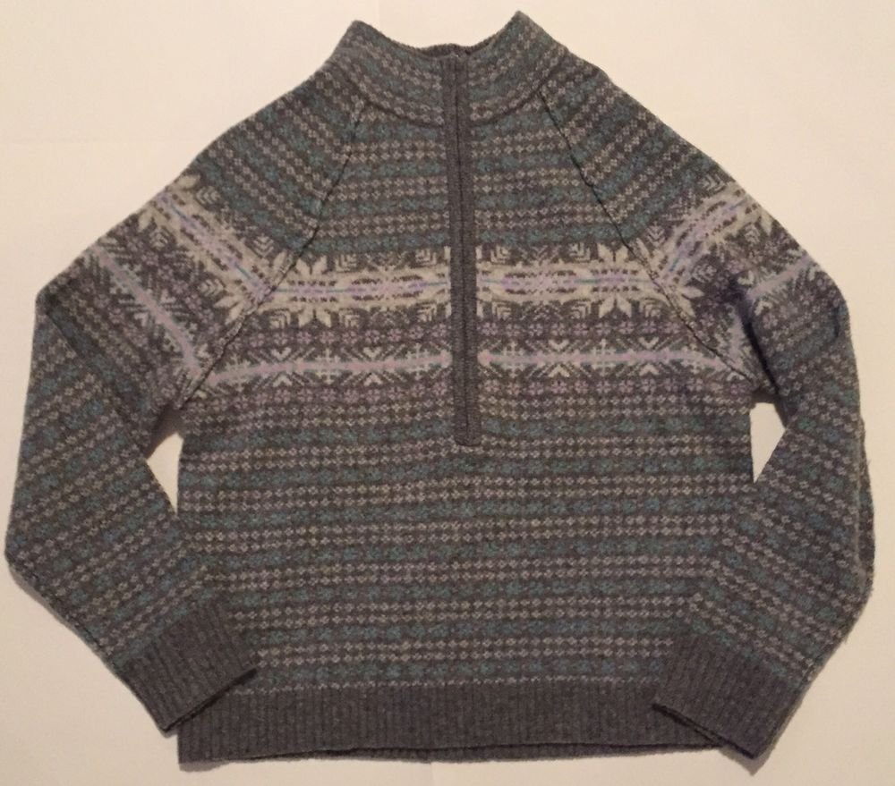 Woolrich Sweater M Fair Isle Gray White Half Zip Pullover Wool ...