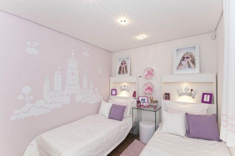 Wunderbar Farb  Und Wandgestaltung Kinderzimmer Madchen Rose Schloss Schablone
