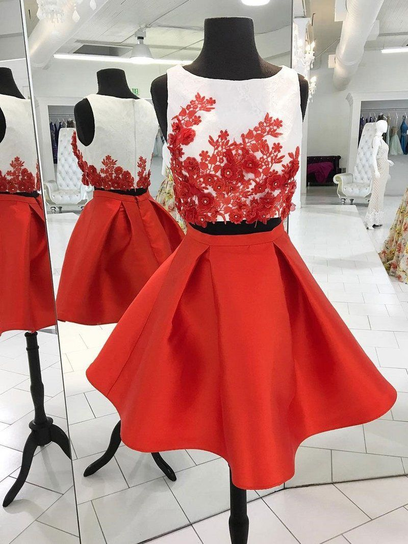 Red two piece homecoming dressescute appliqued satin homecoming