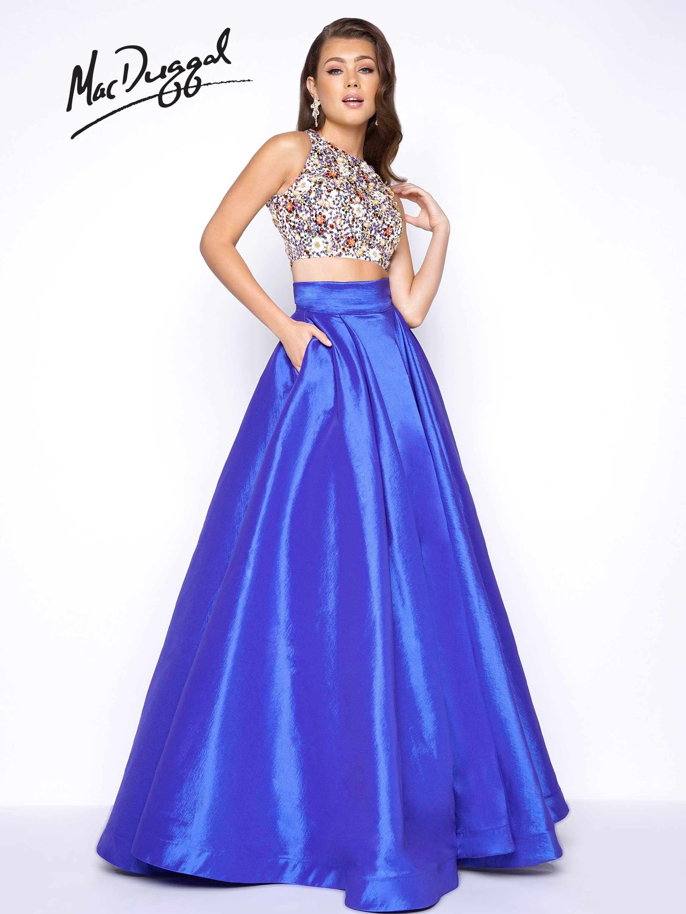 High Neck Two Piece Prom Dress With Fully Beaded Top And Satin