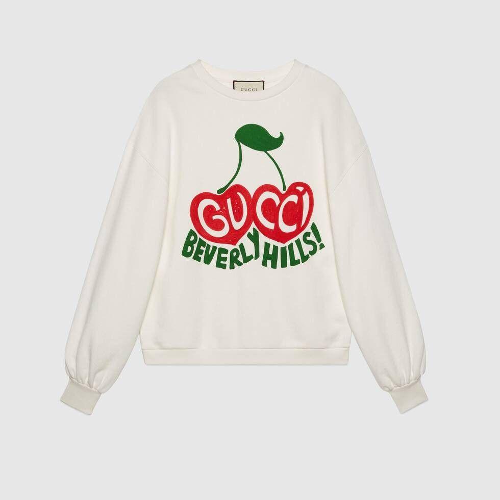 Gucci Gucci Beverly Hills Cherry Print Sweatshirt Printed Sweatshirts Sweatshirts Sweatshirts Women [ 980 x 980 Pixel ]