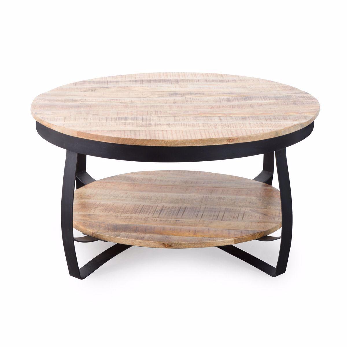 Table Basse Industrielle Ronde Bois Et Metal Deux Plateaux Gl48 Taille Taille Unique In 2020 Coffee Table Table Metal Coffee Table