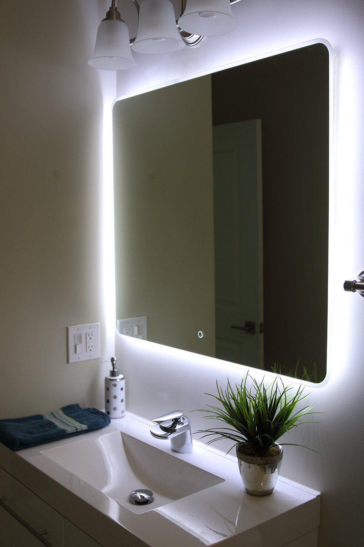Pin by DJ Peter on LED  Bathroom mirror lights Backlit bathroom mirror Bathroom Lighting