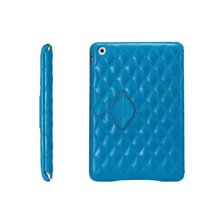 Matelasse Leather Cover for iPad mini - Lake Placid Blue