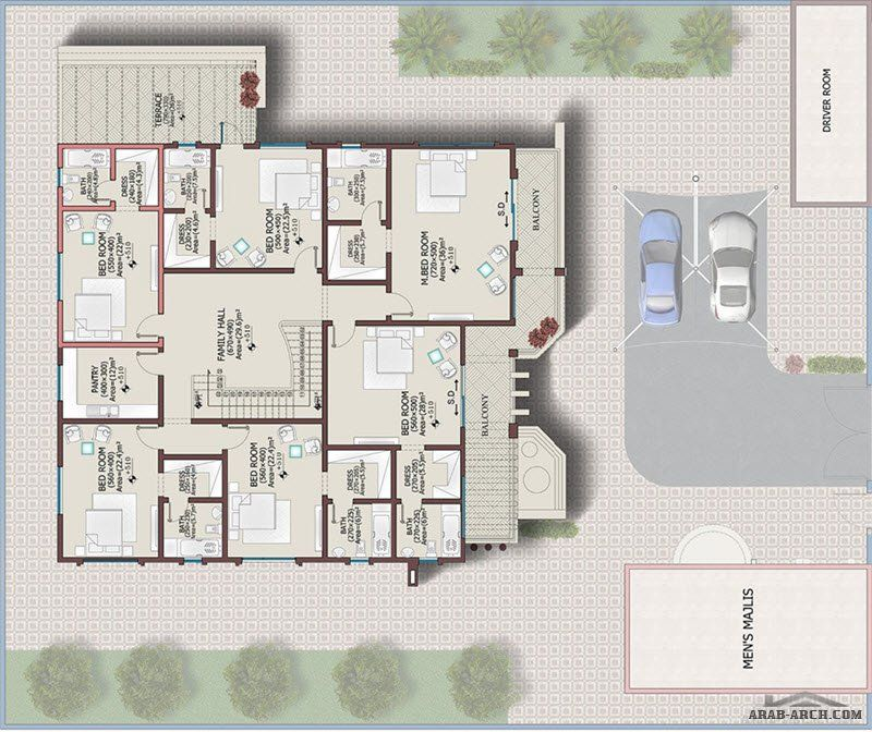 فيلا خليجي 646 متر مربع 6 غرف نوم 1 Arab Arch Home Map Design Square House Plans House Map