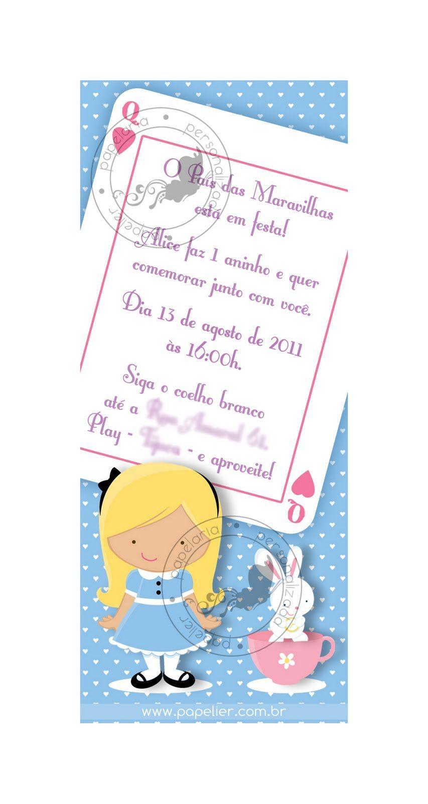 Papelier - papelaria criativa: Alice no país das maravilhas - o convite