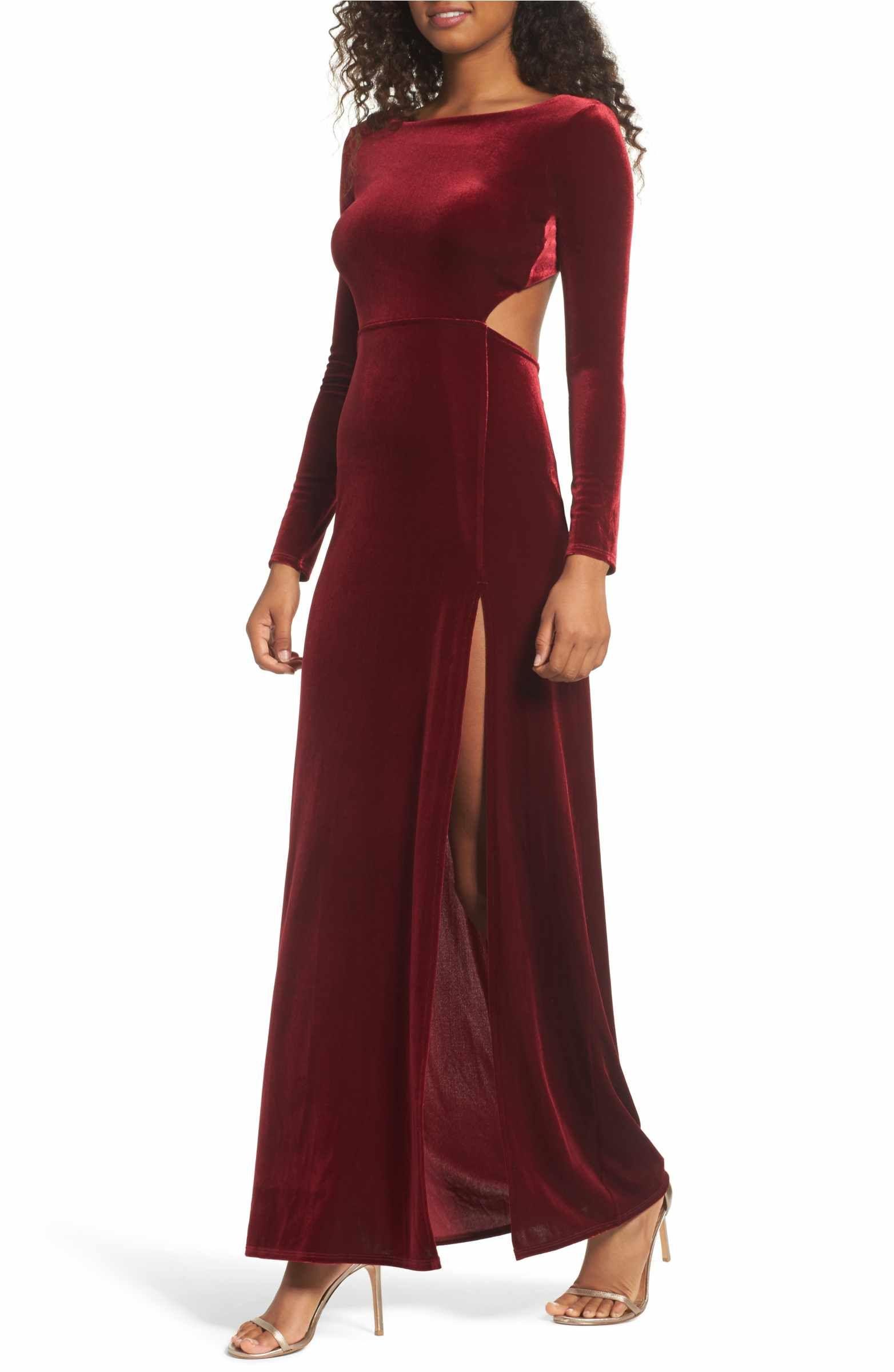 Lulus Besame Long Sleeve Velvet Maxi Dress  Langärmlige