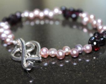 Faceted Garnet and Soft Pink Pearl Bracelet with Heart Toggle - Edit Listing - Etsy