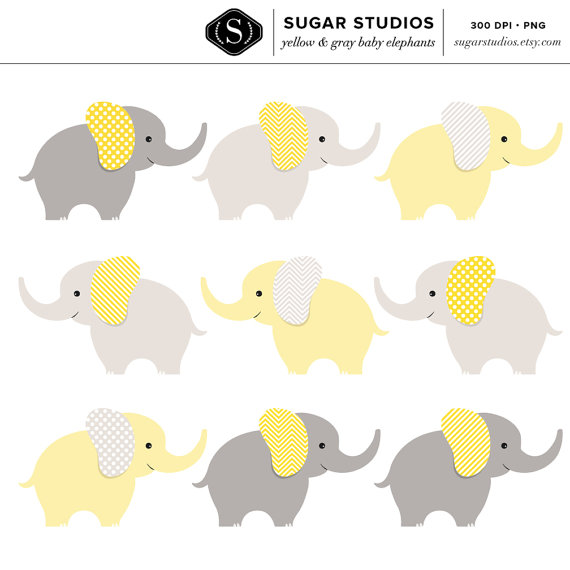 Sale Yellow And Gray Baby Elephants Digital Clip Art 9 Pieces