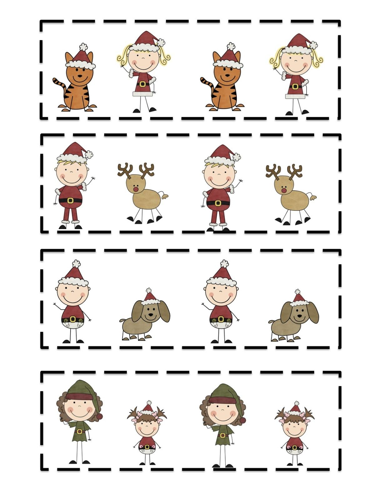 Christmas Kids Printable Pattern Cards