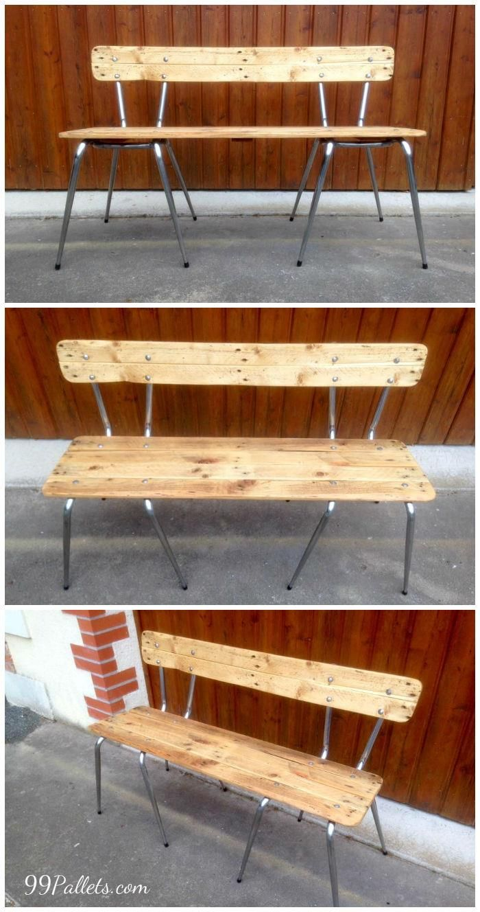 Old Chairs Turn into Pallets Bench | Pallet bench, Pallets and Bench