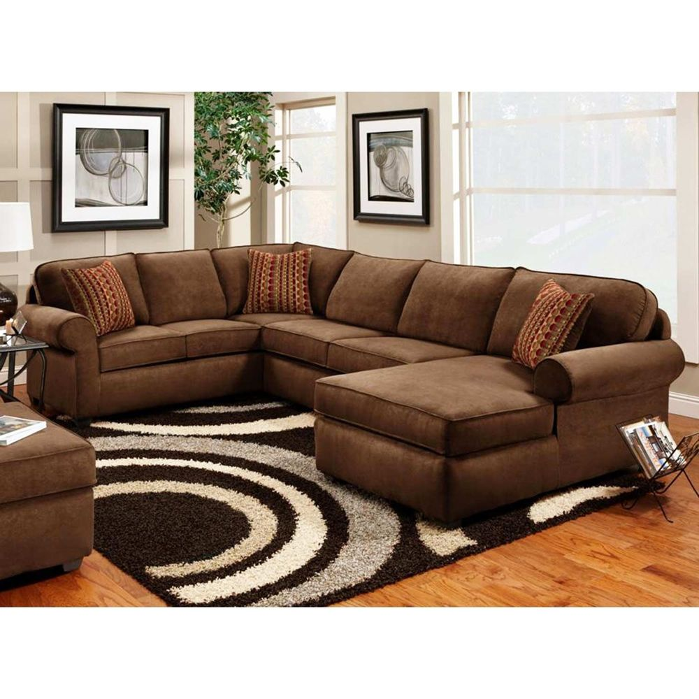 Best Vera 3 Piece Chaise Sectional Flat Suede Chocolate 400 x 300