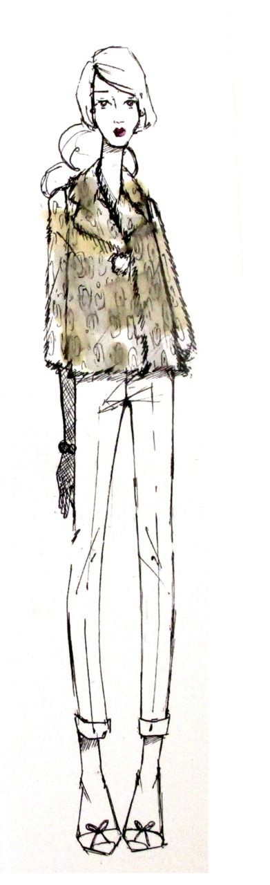 """""""this piece is: cool and chic favorite feature: the grey faux fur wear it with: skinny black broome street jeans, a great blouse and a fab bag take it out: gallery hopping with my girlfriends"""" -deborah lloyd on the amellia fur coat"""