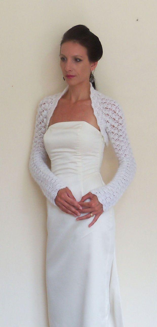 BRIDAL SHRUG WEDDING bolero White mohair Crochet Bolero Jacket ...