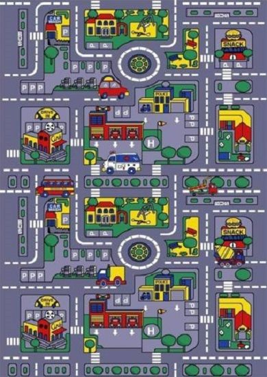 CITY MAP CAR PLAY ACTIVITY TRUCK TRACK RUG FOR KIDS 5' X 7' NON SKID Car Map Rug on