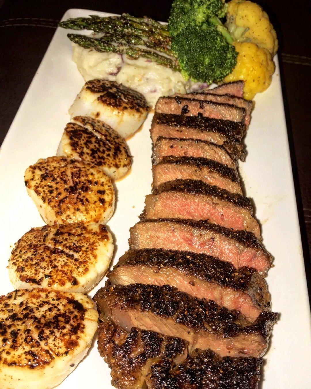 "Chef AP on Instagram: ""Medium Dry Aged Strip x Blackened Wild Scallops ‼️  . . . . . #ribeye #steakhouse #surfnturf #goodeats #eatfamous #comfortfood…"""