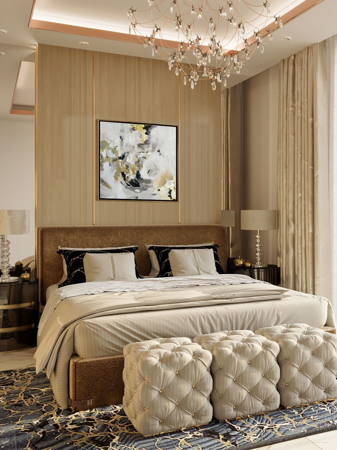 Abstract Artwork Painting For Bedroom For Hanging Above The Bed In 2020 Master Bedroom Interior Design Master Bedroom Interior Interior Design