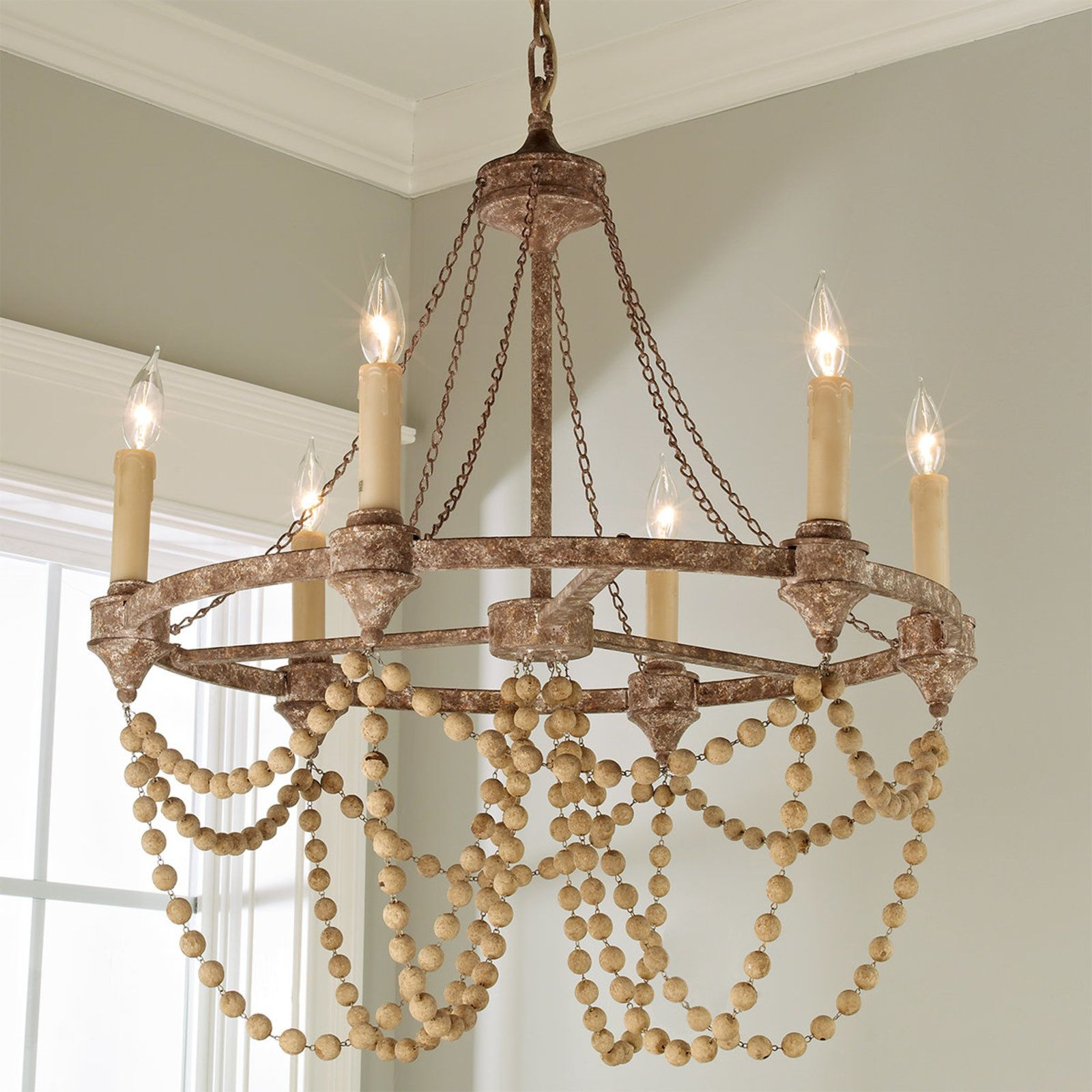 Rustic Refined Wood Bead Chandelier Wood Bead Chandelier Beaded