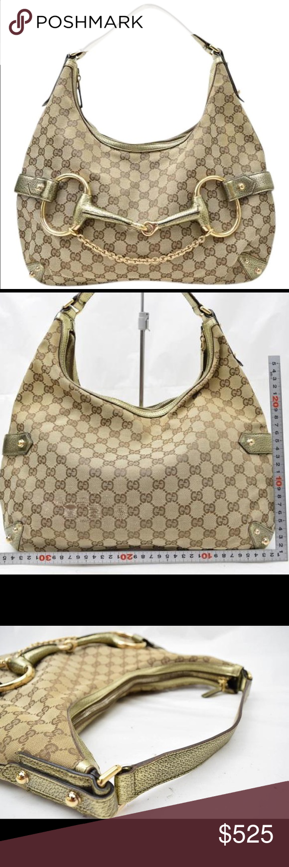 54ff874c631b Gucci Horsebit Hobo Tote Bag GG jacquard monogram canvas in beige / tan  with gold metallic