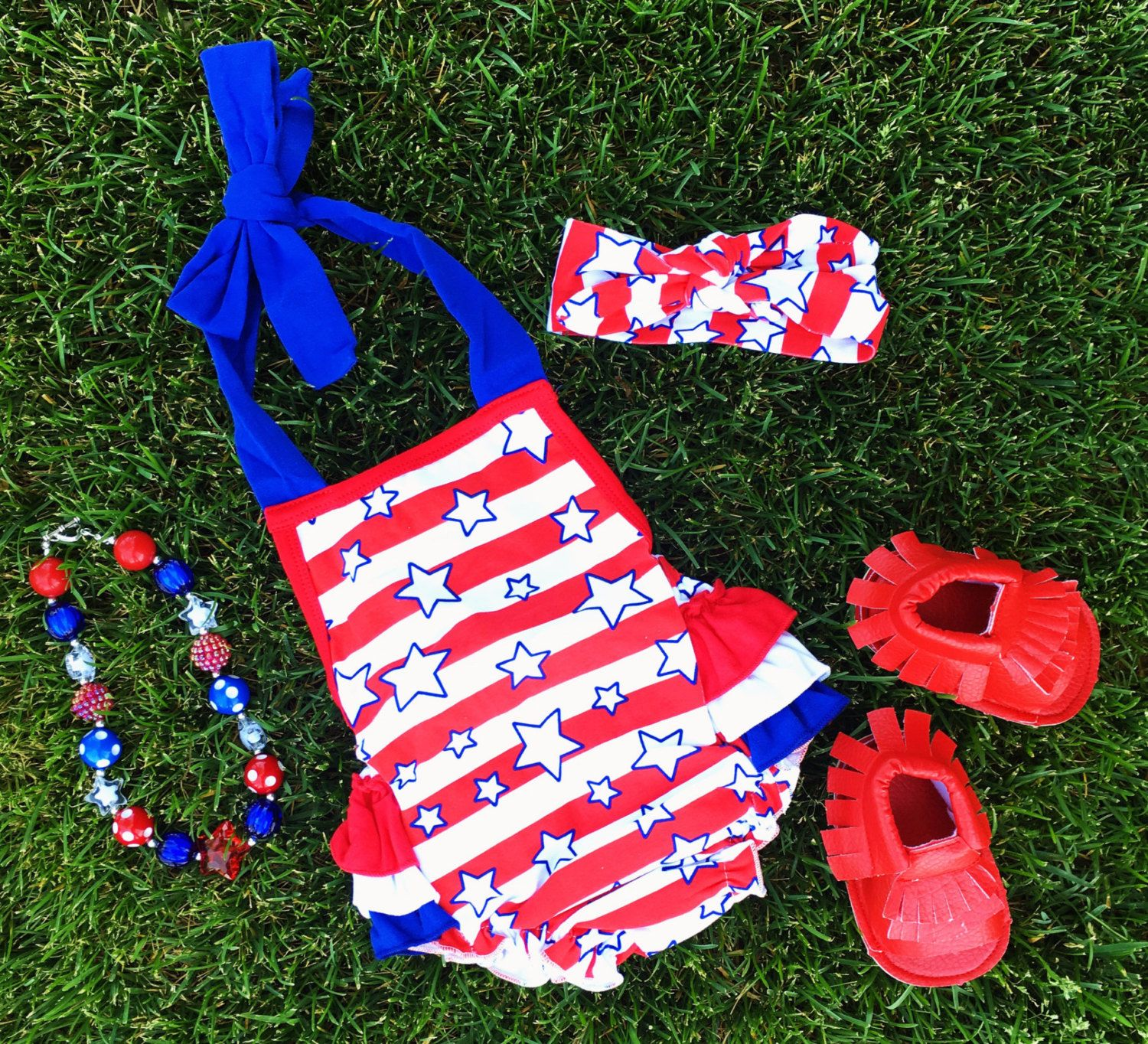 July 4th Infant Baby Girl Stars & Stripes Bubble Romper, Red White ...