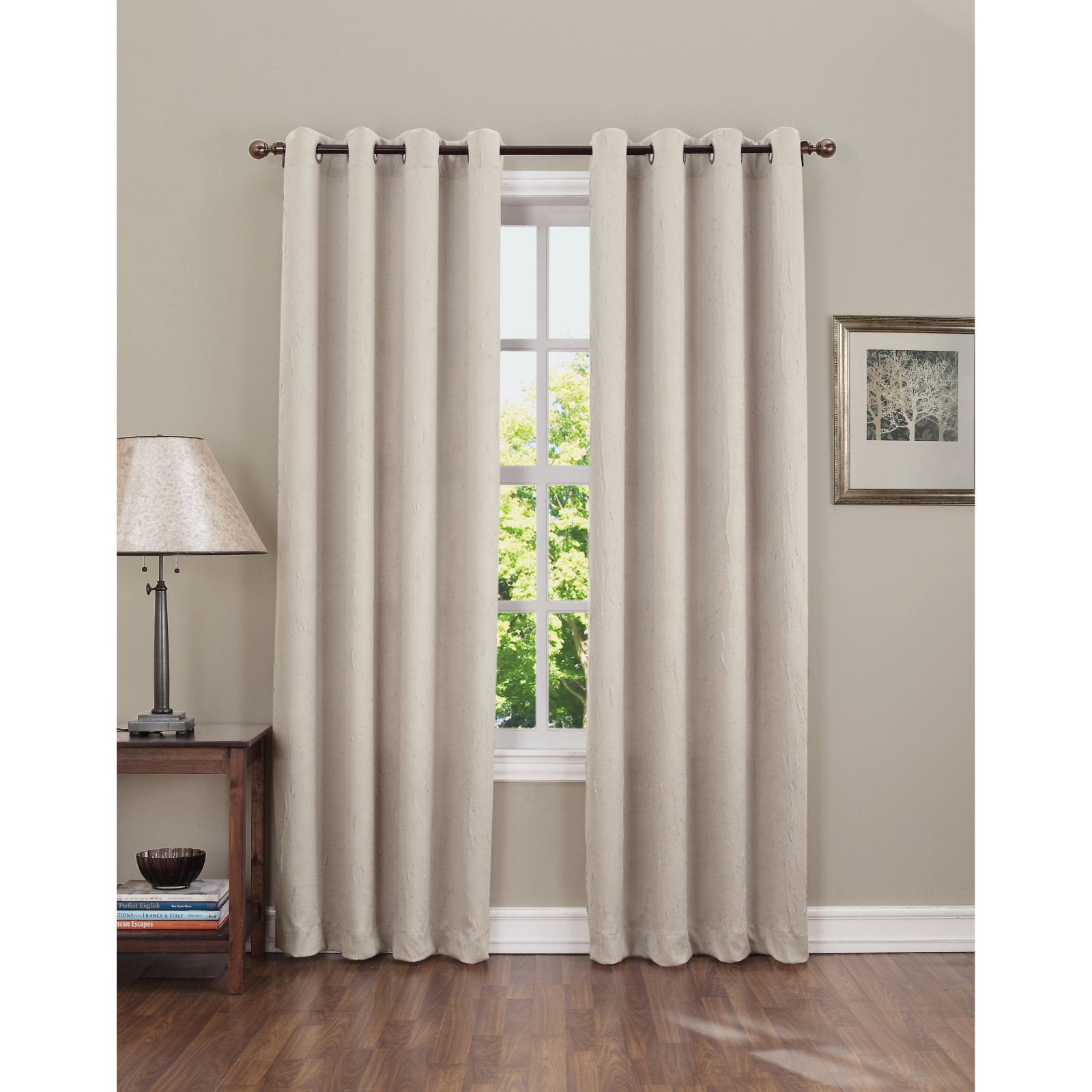 Sun Zero Hanson Room Darkening Grommet Curtain Panel Stone