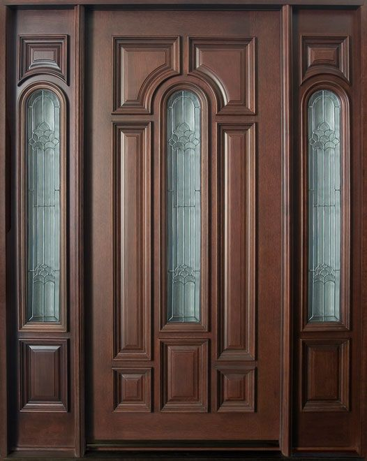 mahogany solid wood front entry door single with 2 sidelites