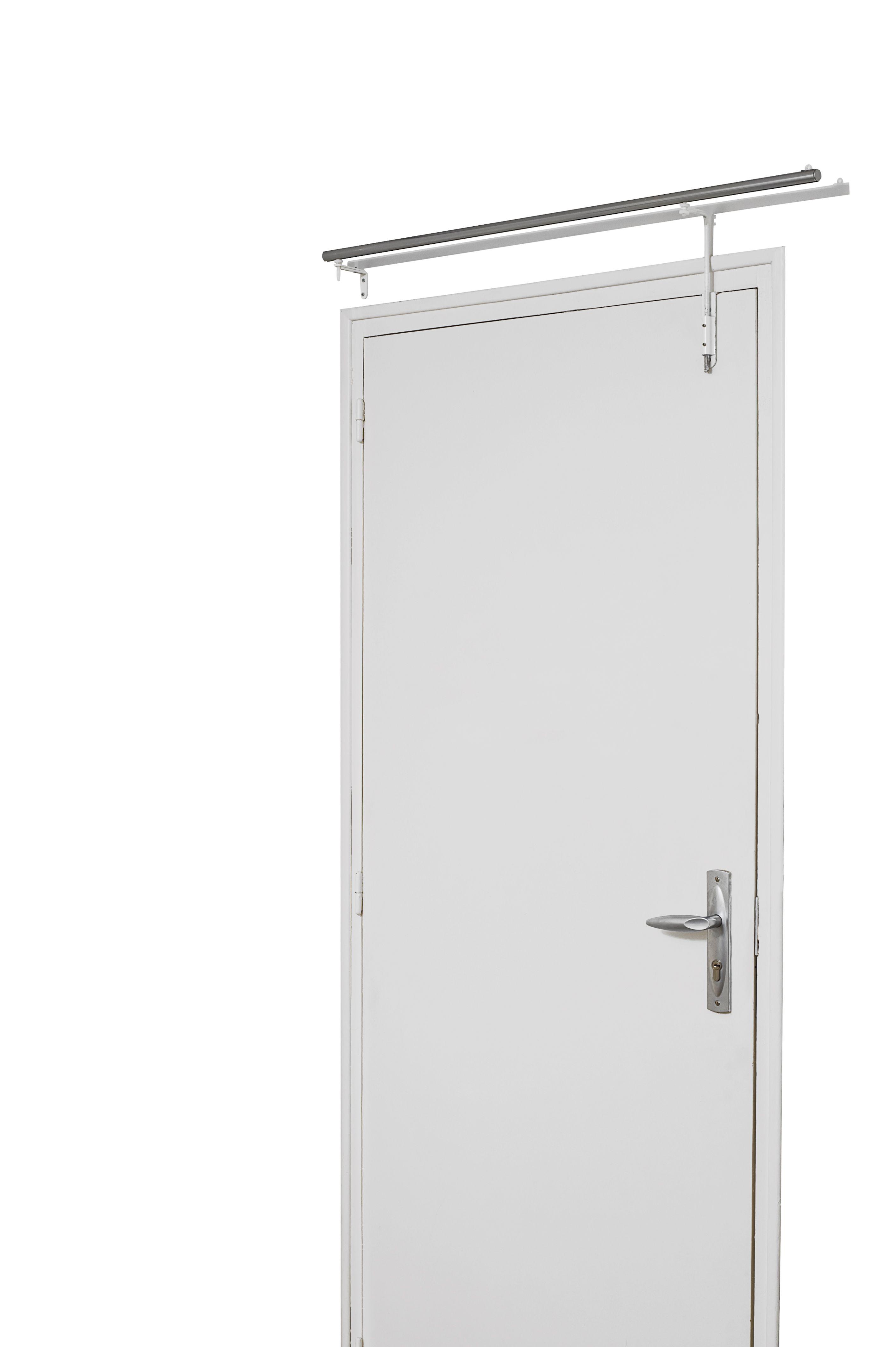 Barres À Rideaux Pose Sans Perçage tringle prête à poser pour porte d entrée (blanc), (chrome