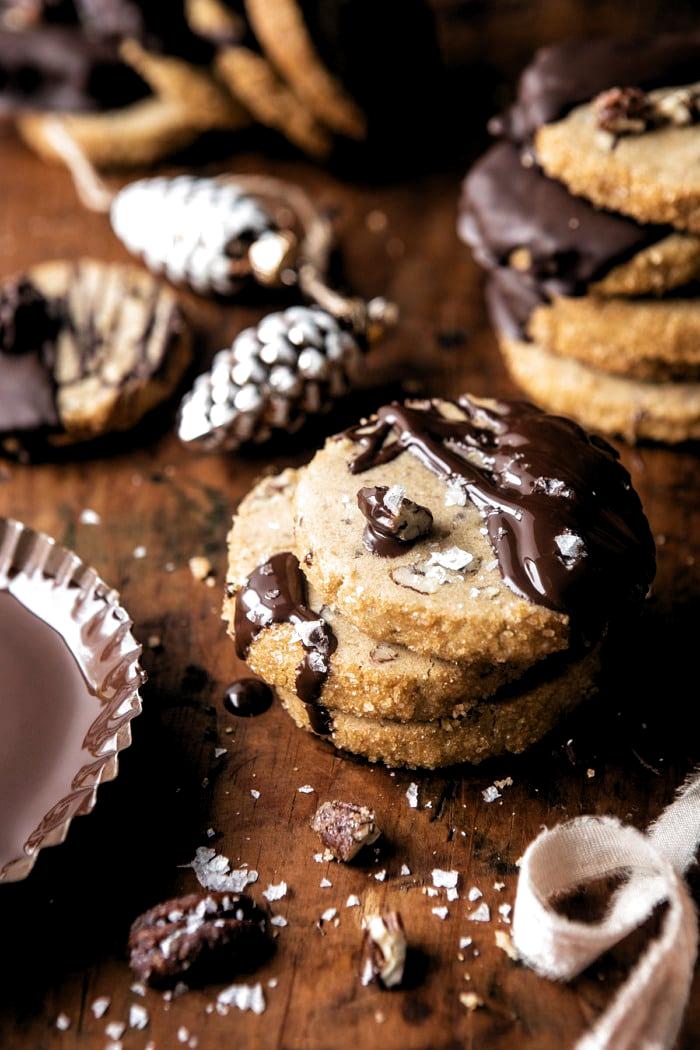 Slice n Bake Salted Chocolate Butter Pecan Cookies | halfbakedharvest.com #cookies #christmas #thanksgiving #chocolate #sliceandbakecookieschristmas