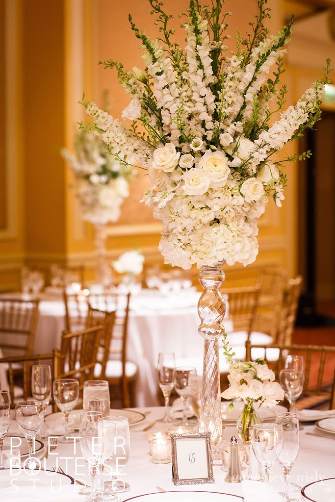 Tall Wedding Centerpieces Hydrangeas And Delphiniums