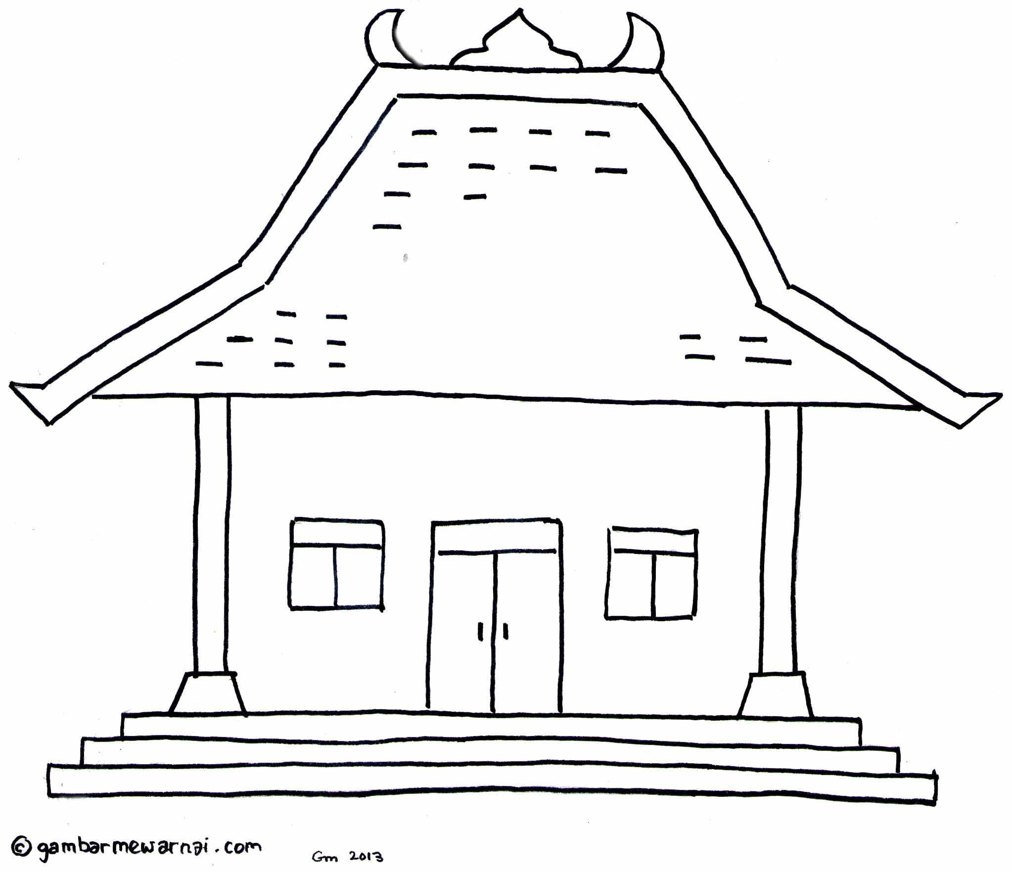Gambar Mewarnai Rumah Adat Joglo Adalah Khas Rumah Adat Jawa Jawa