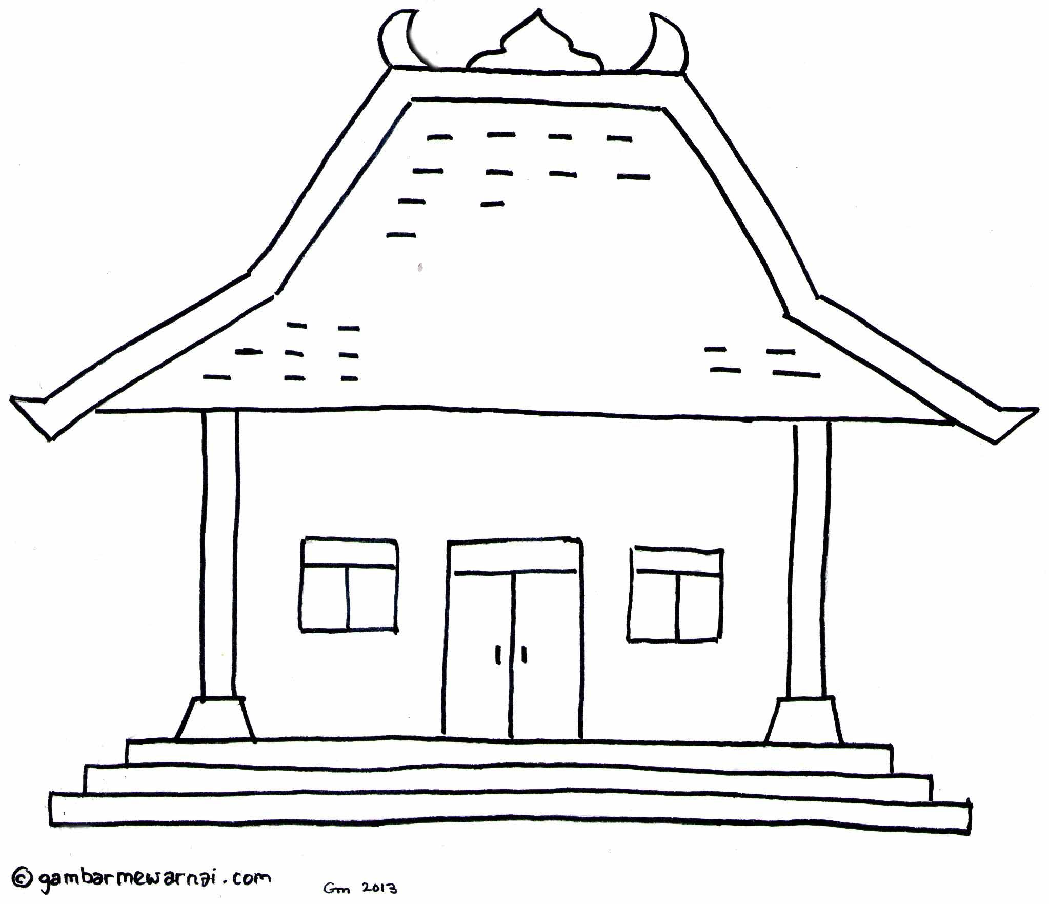 Gambar Mewarnai Rumah Adat Rumahku Pinterest Yogyakarta