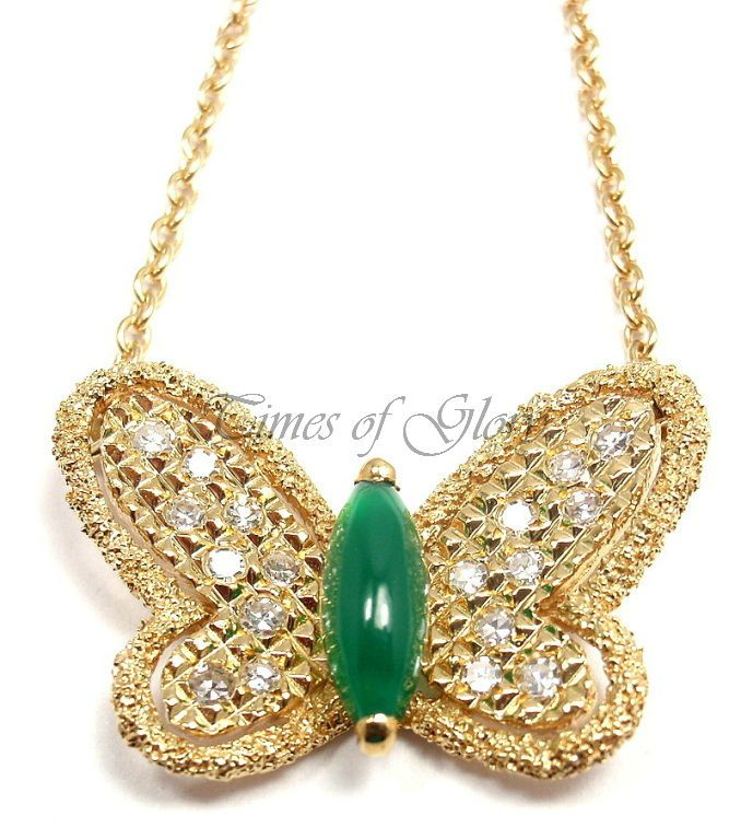 RARE VAN CLEEF & ARPELS VCA Diamond Alhambra Butterfly Gold Pendant Necklace
