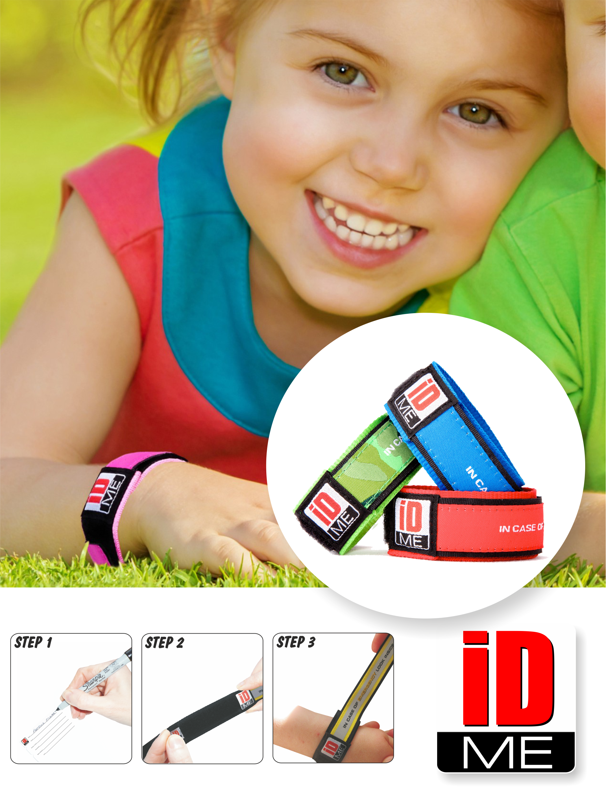 Childrens Id Safety Wristbands Kids Band Allergy Medical Alert