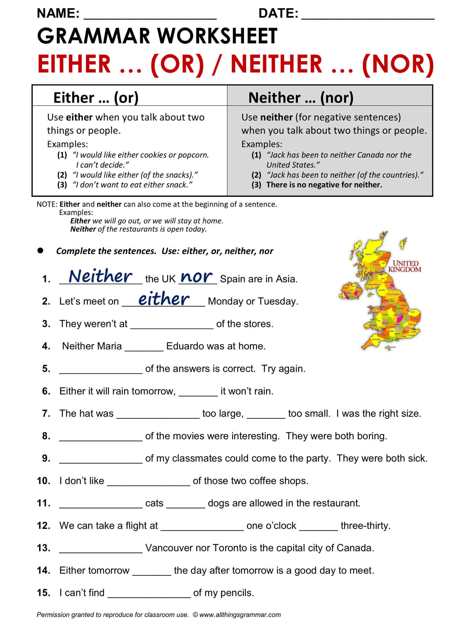 English Grammar Worksheet Either Or Neither Nor