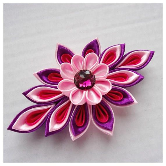flower hair clip hair clip with pink and purple kanzashi. Black Bedroom Furniture Sets. Home Design Ideas