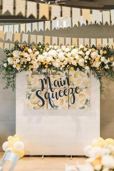 Lemon themed bridal shower, She Found Her Main Squeeze, lemon themed party ideas, lemon themed backdrop
