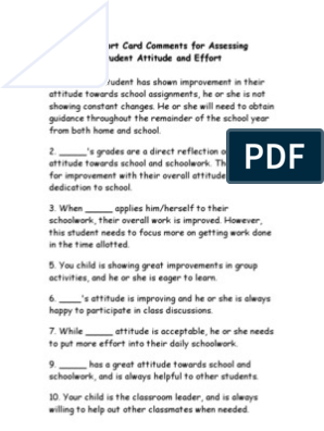50 Quick Report Card Comments For Assessing Elementary Student Attitude And Effort Remarks For Report Card Report Card Comments Preschool Report Card Comments