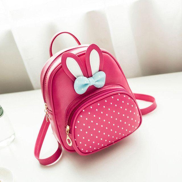 93e9a6b5db7b MTENLE Mini Small Backpacks For Teenage Girls Bunny Cute Backpack Women  Leather Polka Dot Bow Back Bag Pink Mochila Feminina FI